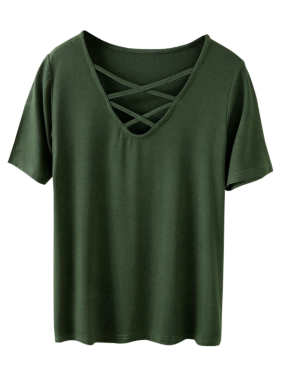 Strappy T-Shirt - ARMY GREEN S Mobile