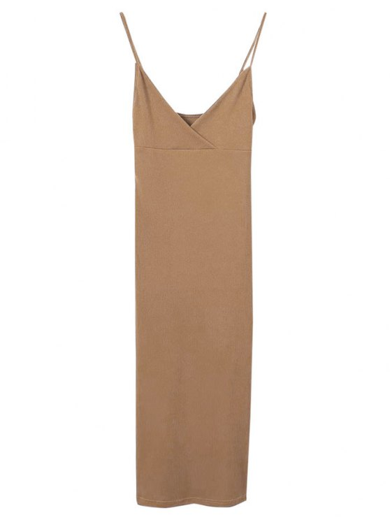 Cami Pluning Neck Surplice Bodycon Vestido - Marrón M