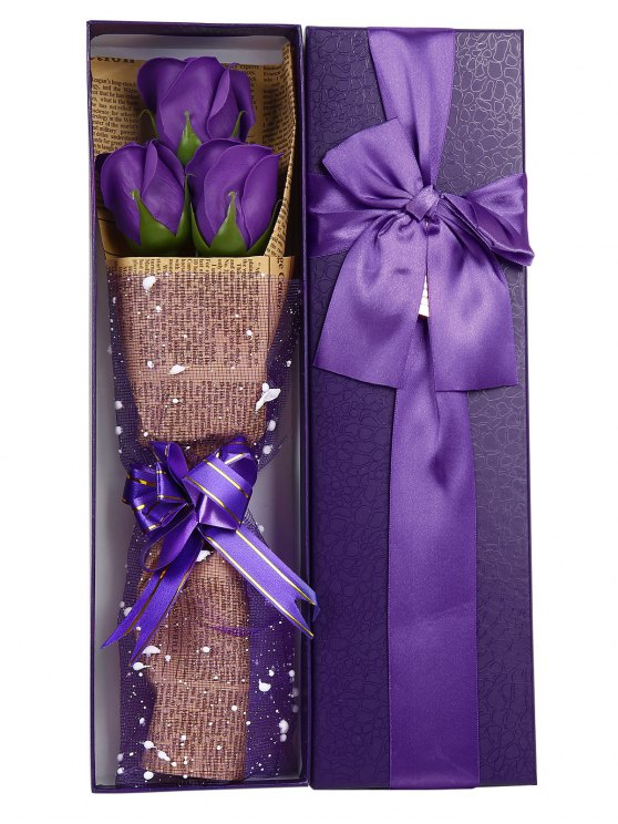 Mothers Day Gift Simulation Rose Soap Flowers Bouquet - PURPLE  Mobile