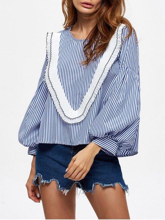 online Stripes Ruffles Blouse - BLUE XL