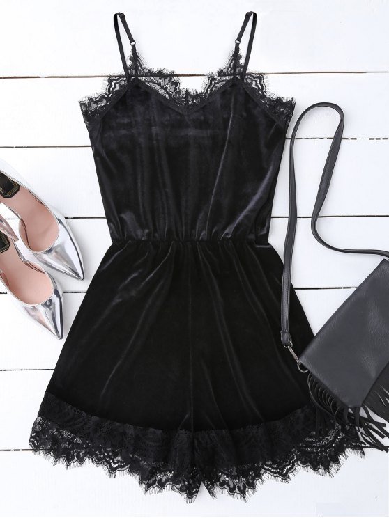 unique Slip Lace Hem Velvet Romper - BLACK L