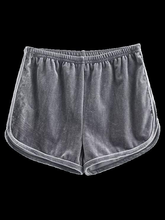 shop Sporty Velvet Shorts - GRAY M