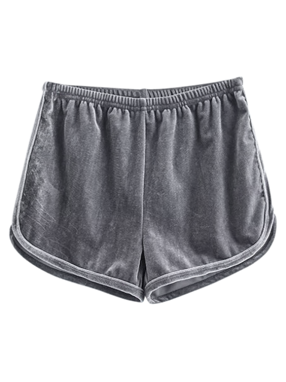 shops Sporty Velvet Shorts - GRAY S