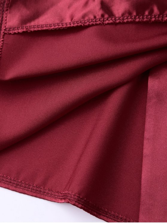 Cami Wrap Slip Dress - WINE RED M Mobile