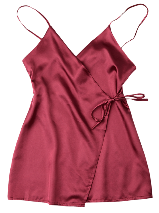 Cami Wrap Slip Dress - WINE RED XL Mobile