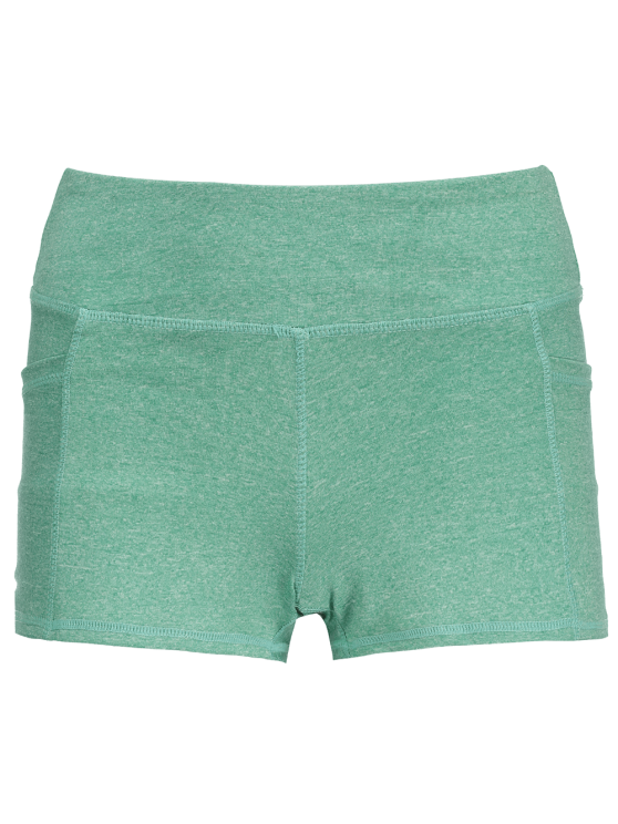 Heathered Sports Shorts With Pockets - GREEN M Mobile