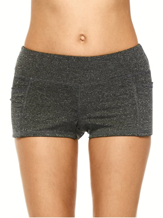 online Heathered Sports Shorts With Pockets - BLACK GREY L