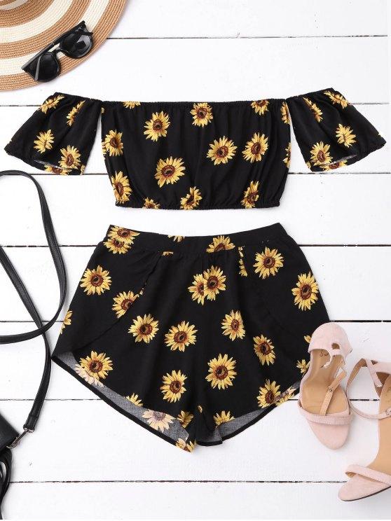 online Off Shoulder Crop Top and Sunflower Shorts - BLACK S