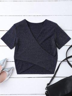 Golden Thread Wrap Front Crop Top - Purplish Blue L