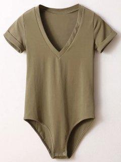 Skinny Plunging Neck Bodysuit - Army Green S