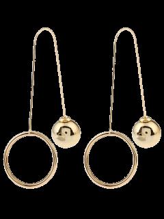 Metal Ball Circle Drop Earrings - Golden