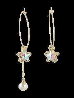 Asymmetric Faux Pearl Circle Star Earrings - Golden