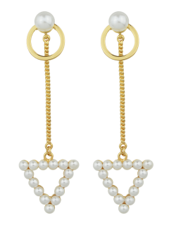Faux Pearl Circle Triangle Chain Earrings - Golden