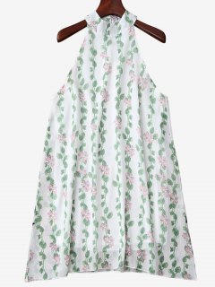 Mandarin Collar Plant Print Sleeveless Dress - Green Xl