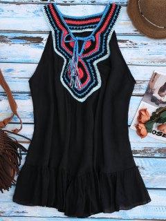 Crochet Bib Cover-Up Tank Dress - Black