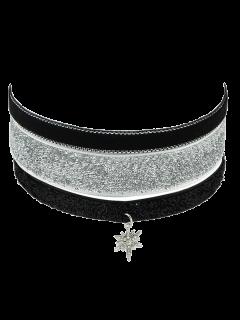 Fake Leather Velvet Star Choker Necklace Set - Silver