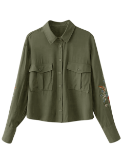 Floral Embroidered Double Pockets Shirt - Army Green L