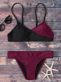 Color Block Wrap Bikini - Red With Black M