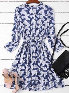 Leaves Print Mini Ruffled Dress - Deep Blue M