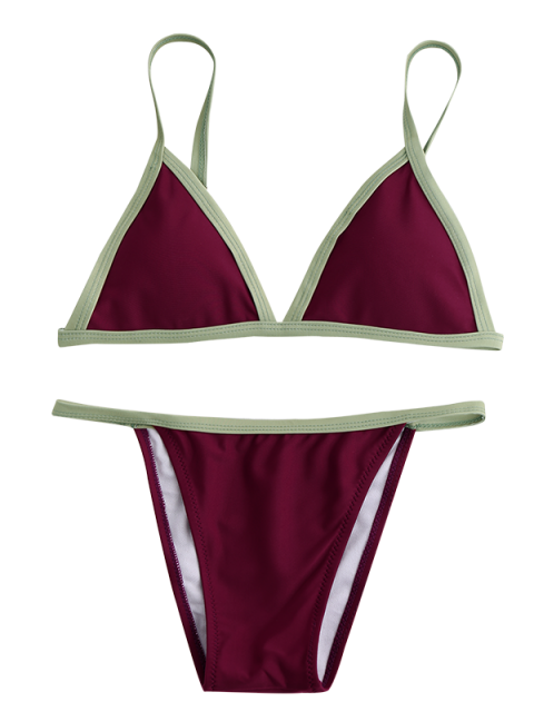 unique Two Tone Padded Bikini Set - BURGUNDY L Mobile