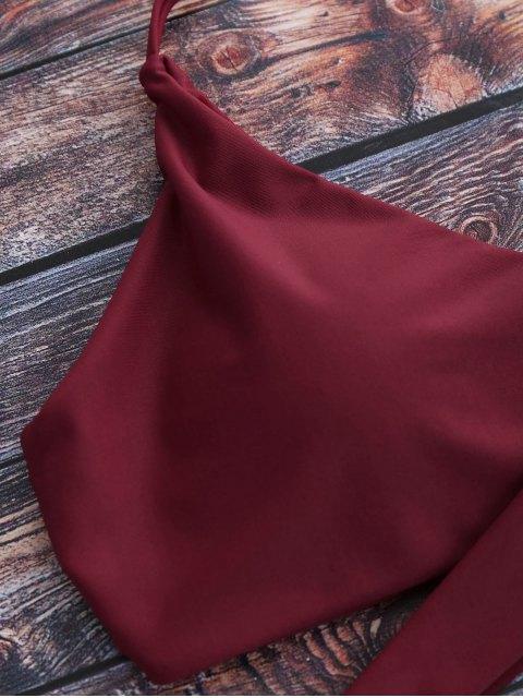 best Tiny Floral Halter Wrap Bikini Set - RED XL Mobile