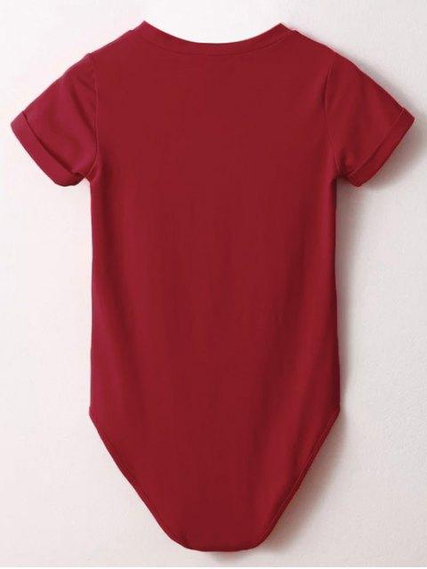 shop Skinny Plunging Neck Bodysuit - RED M Mobile