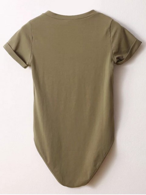 trendy Skinny Plunging Neck Bodysuit - ARMY GREEN S Mobile