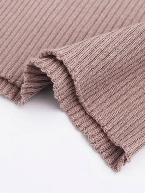 lady Fitted Off Shoulder Ribbed Knitwear - NUDE PINK S Mobile