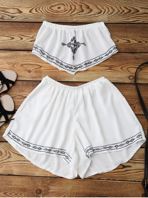 outfits Print Chiffon Tube Top and Shorts - WHITE S Mobile