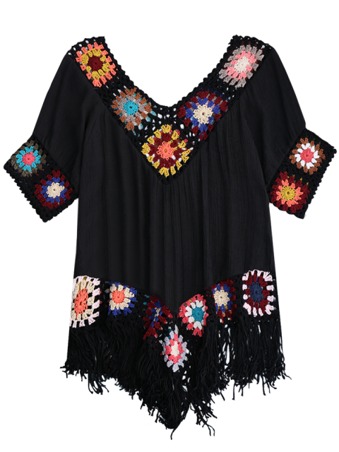shops Crochet Beach Cover-Up Tunic - BLACK ONE SIZE Mobile