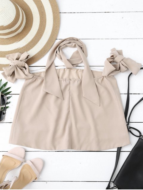 best Off Shoulder Choker Tie Sleeve Blouse - NUDE S Mobile