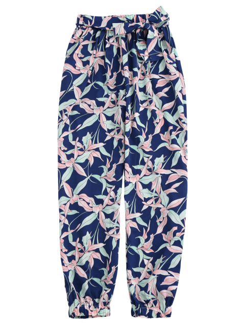 chic Floral Print Tapered Pants With Tie Belt - COLORMIX M Mobile