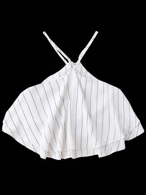 best Halter Striped Crop Chiffon Top - WHITE S Mobile