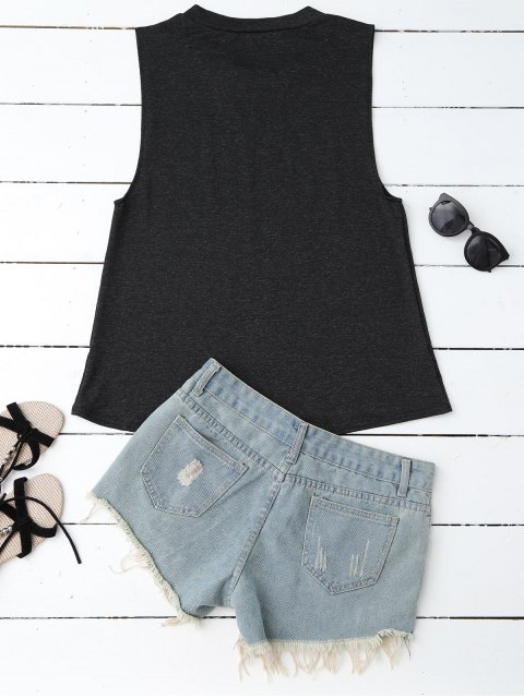 online Armhole Graphic Tank Top - BLACK S Mobile