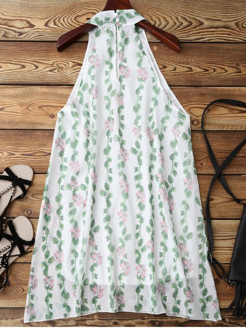 women's Mandarin Collar Plant Print Sleeveless Dress - GREEN M Mobile