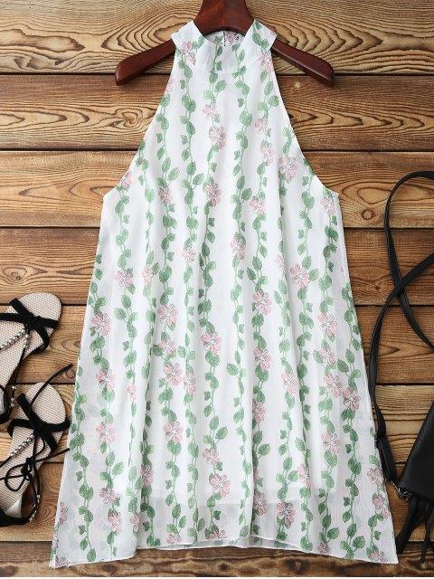 lady Mandarin Collar Plant Print Sleeveless Dress - GREEN XL Mobile