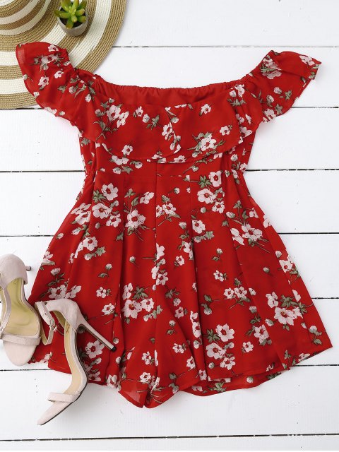 buy Off Shoulder Floral Skirted Romper - RED S Mobile