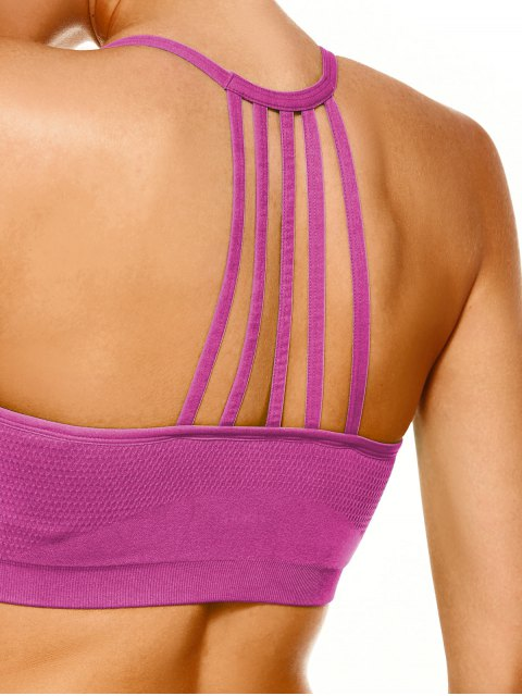 latest Push Up Strappy Back Sports Bra - TUTTI FRUTTI M Mobile