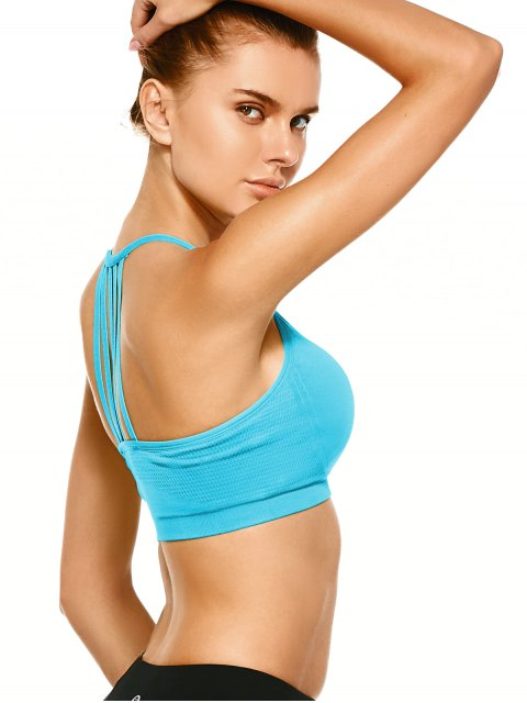 fashion Push Up Strappy Back Sports Bra - LAKE BLUE L Mobile