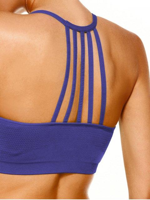 women Push Up Strappy Back Sports Bra - PURPLE L Mobile