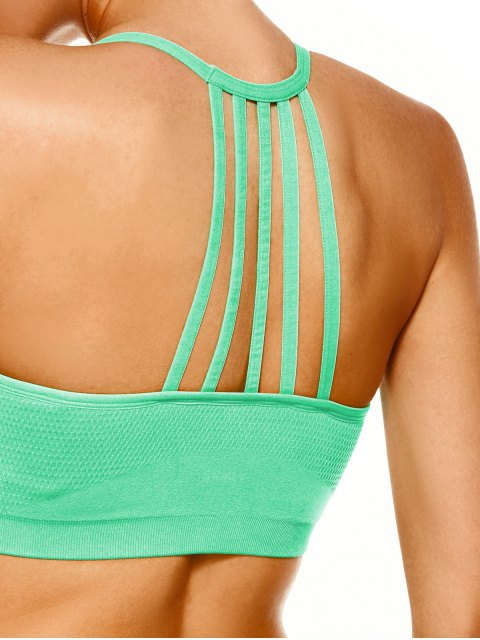 ladies Push Up Strappy Back Sports Bra - GREEN L Mobile