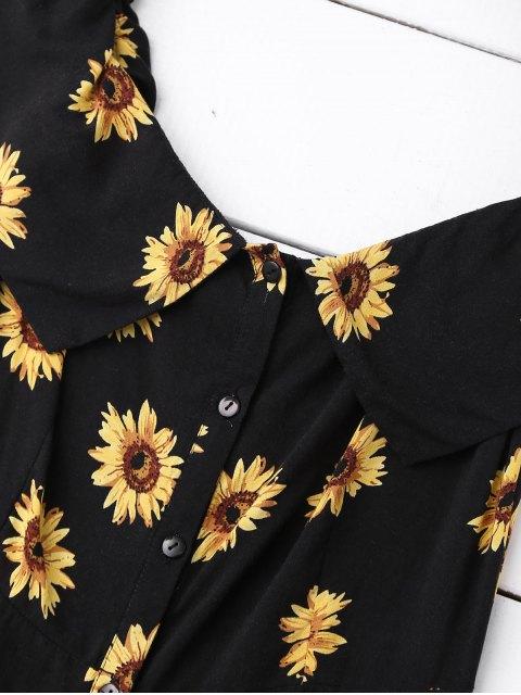 latest Off Shoulder Button Up Sunflower Dress - BLACK M Mobile