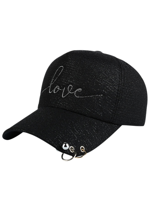 sale Beads Metal Circle Letters Baseball Hat - BLACK  Mobile