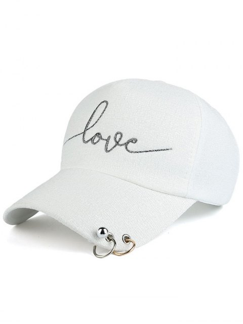 affordable Beads Metal Circle Letters Baseball Hat - WHITE  Mobile