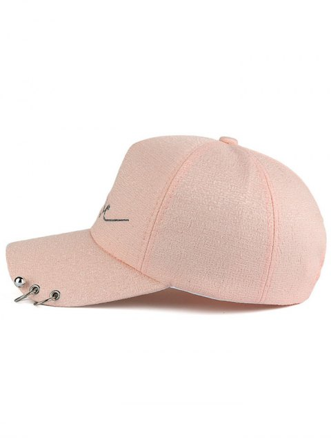 womens Beads Metal Circle Letters Baseball Hat - PINK  Mobile