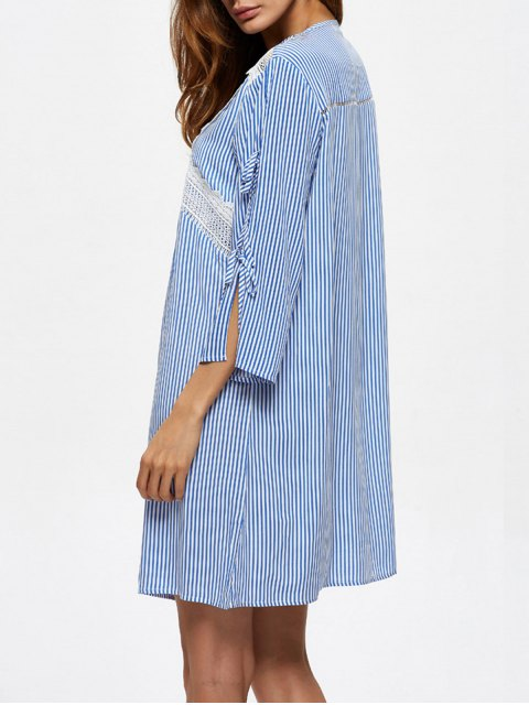 new Striped Lace Up Casual Dress - BLUE XL Mobile