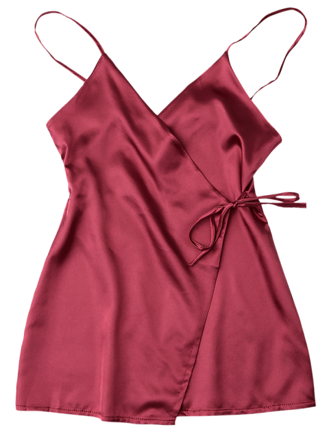 hot Cami Wrap Slip Dress - WINE RED S Mobile