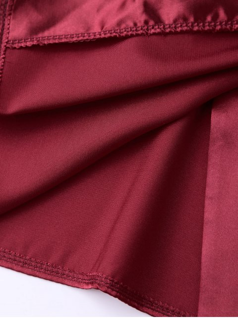 shop Cami Wrap Slip Dress - WINE RED XL Mobile