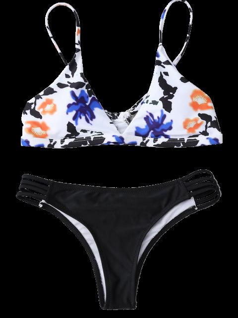 affordable Multiple-Rope Tiny Floral Bikini Set - BLACK S Mobile