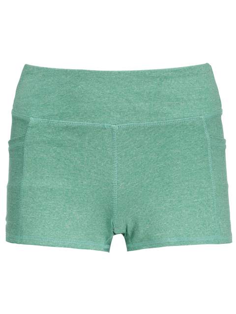 women Heathered Sports Shorts With Pockets - GREEN M Mobile